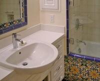 Majolica tile and a semi-recessed sink. - mediterranean - bathroom - san francisco