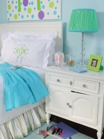 Girls Bedroom in Bright Blue With White Nightstand and Bed with White Bedding and Whimsical Lamp : Designers' Portfolio
