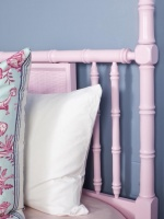 Girls Room Pink Bamboo Headboard with Blue and White Accent Pillow : Designers' Portfolio
