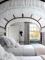 Child Room with Antique Canopied Bed in White with Red Floral Wallpaper and Matching Drapes : Designers' Portfolio