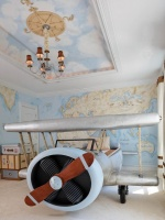 Children's Room with a Map Mural, Trunks & Airplane Bed : Designers' Portfolio
