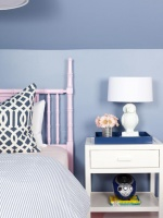 Girl's Room White Bedside Table with Owl Lamp Paired With Blue Walls and Pink Bamboo Headboard : Designers' Portfolio