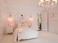 Pink Girl's Bedroom with White Poster Bed & Chandelier : Designers' Portfolio