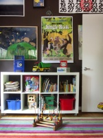 Kid's White Bookshelf With Posters & Colorful Striped Rug : Designers' Portfolio