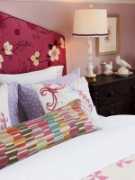Bright Pink Girls Bedroom with Upholstered Headboard : Designers' Portfolio