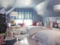 Kids' Attic Bedroom with Blue Walls and Plaid Curtains : Designers' Portfolio