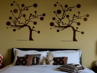 Beige Kids Room with White Linens and Brown Pillows with Applique Wall Art : Designers' Portfolio