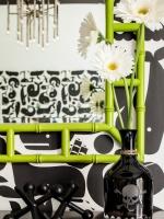 Lime Green Bamboo Mirror in Black and White Nursery : Designers' Portfolio