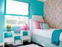 Pink Paisley Wallpaper and Blue Wall in Tween Bedroom : Designers' Portfolio